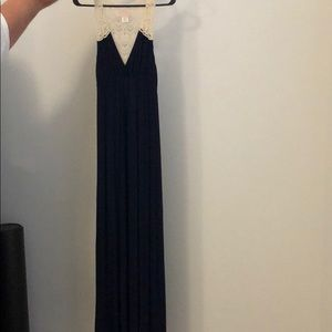 Navy blue crochet back maxi dress